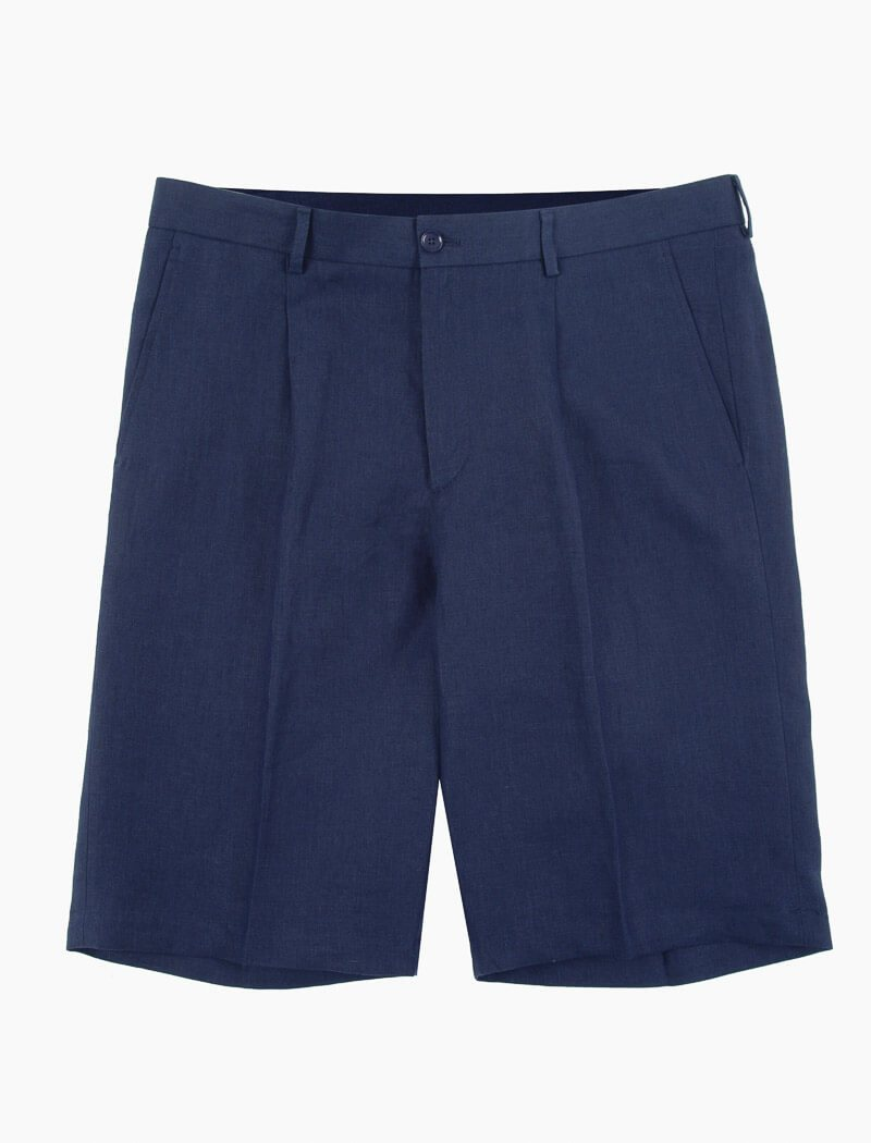 Navy Linen Pleated Shorts | 40 Colori