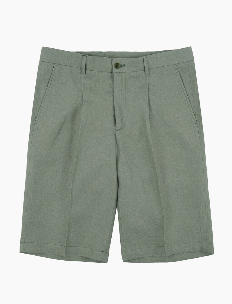 Sage Green Linen Pleated Shorts | 40 Colori