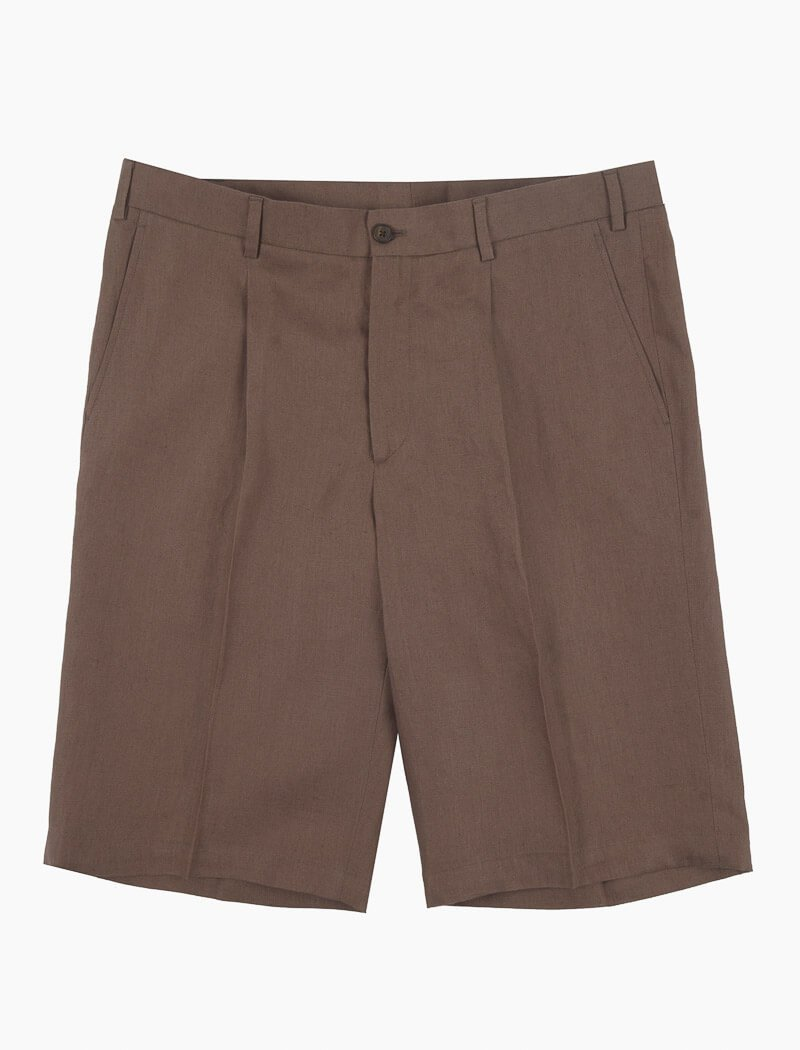 Brown Linen Pleated Shorts | 40 Colori