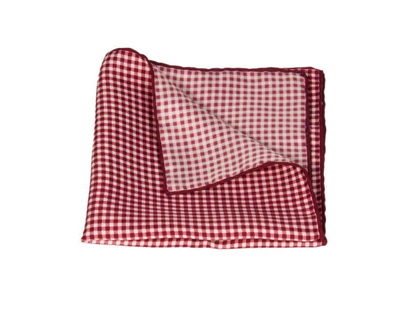 CHEQUERED PRINTED SILK POCKET SQUARE