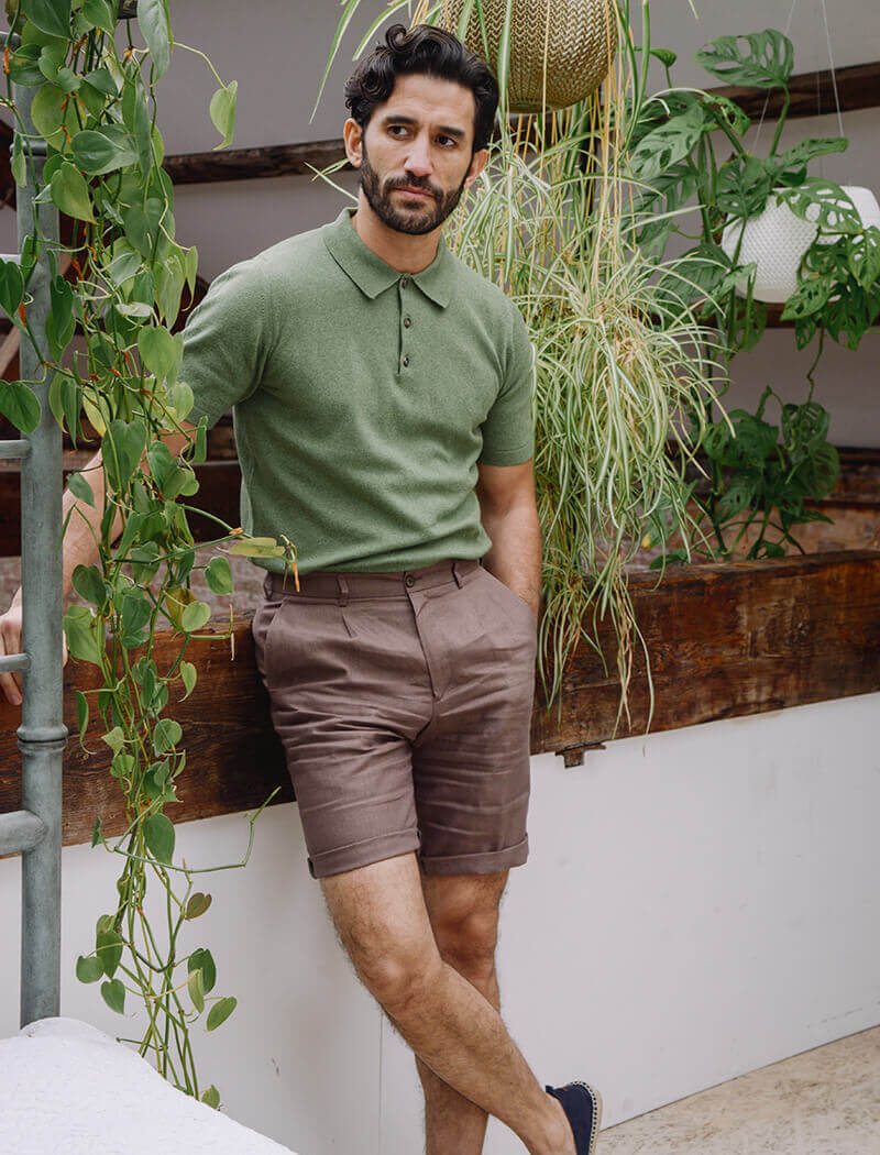 Light Green Short Sleeve Cotton, Cashmere & Silk Knit Polo | 40 Colori