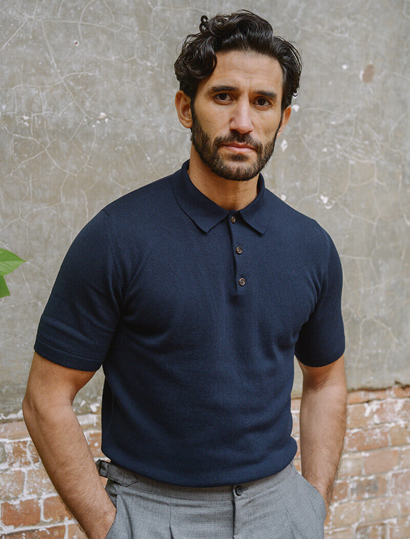 Navy Short Sleeve Cotton, Cashmere & Silk Knit Polo | 40 Colori