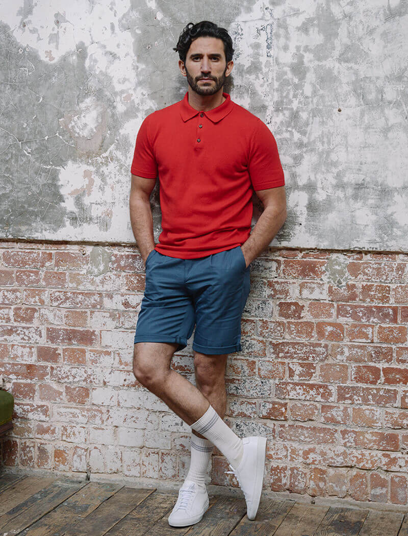 Red Short Sleeve Cotton, Cashmere & Silk Knit Polo