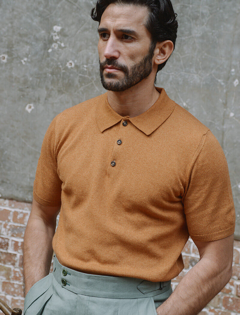 Honey Short Sleeve Cotton, Cashmere & Silk Knit Polo | 40 Colori