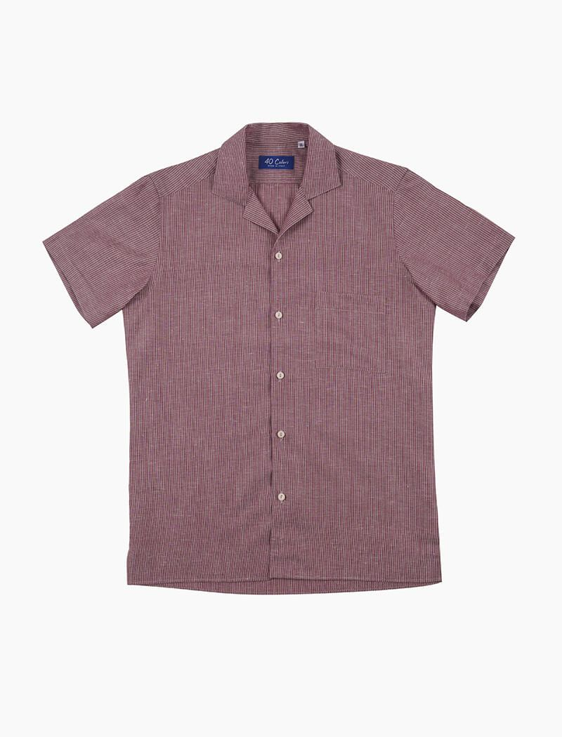 Red Striped Cotton Short Sleeve Shirt | 40 Colori