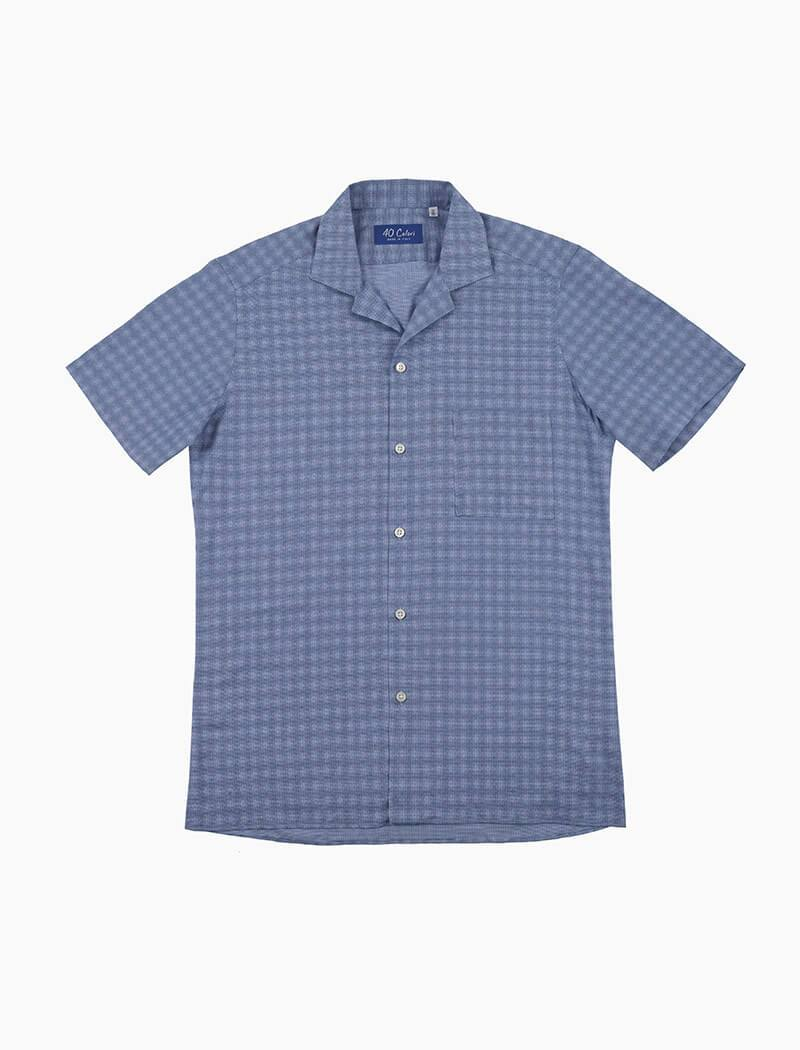 Blue Patterned Cotton Short Sleeve Shirt | 40 Colori
