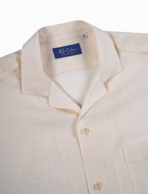 White Linen Short Sleeve Shirt | 40 Colori