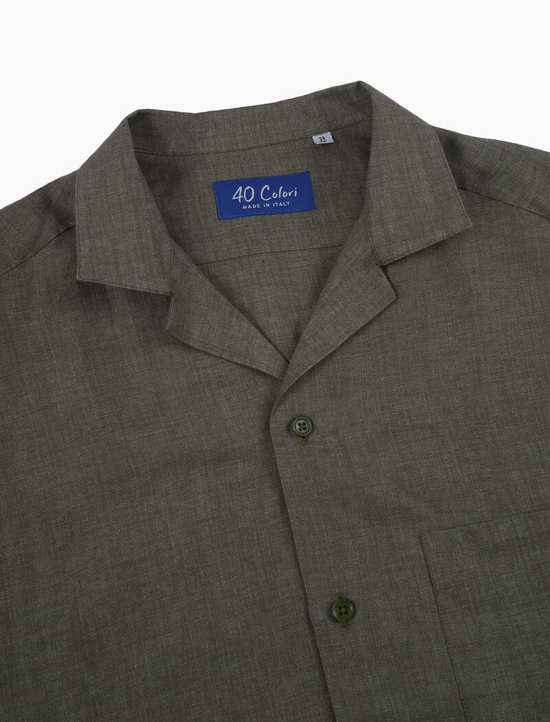 Olive Green Linen Short Sleeve Shirt | 40 Colori