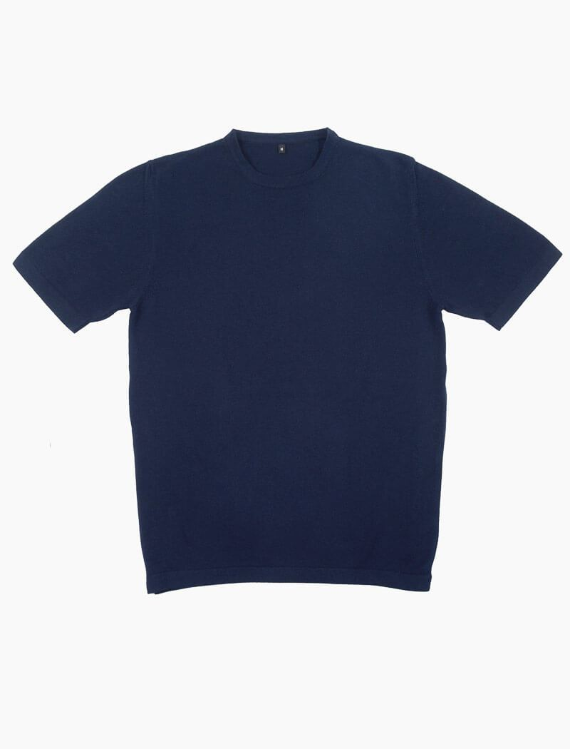 Navy Short Sleeve Cotton, Cashmere & Silk Knit T Shirt | 40 Colori