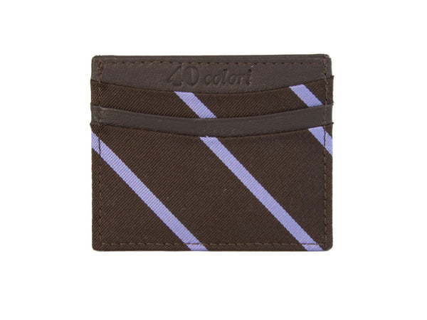 BAR STRIPED SILK AND LEATHER CARD CASE