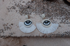 WHITE EYE EARRINGS