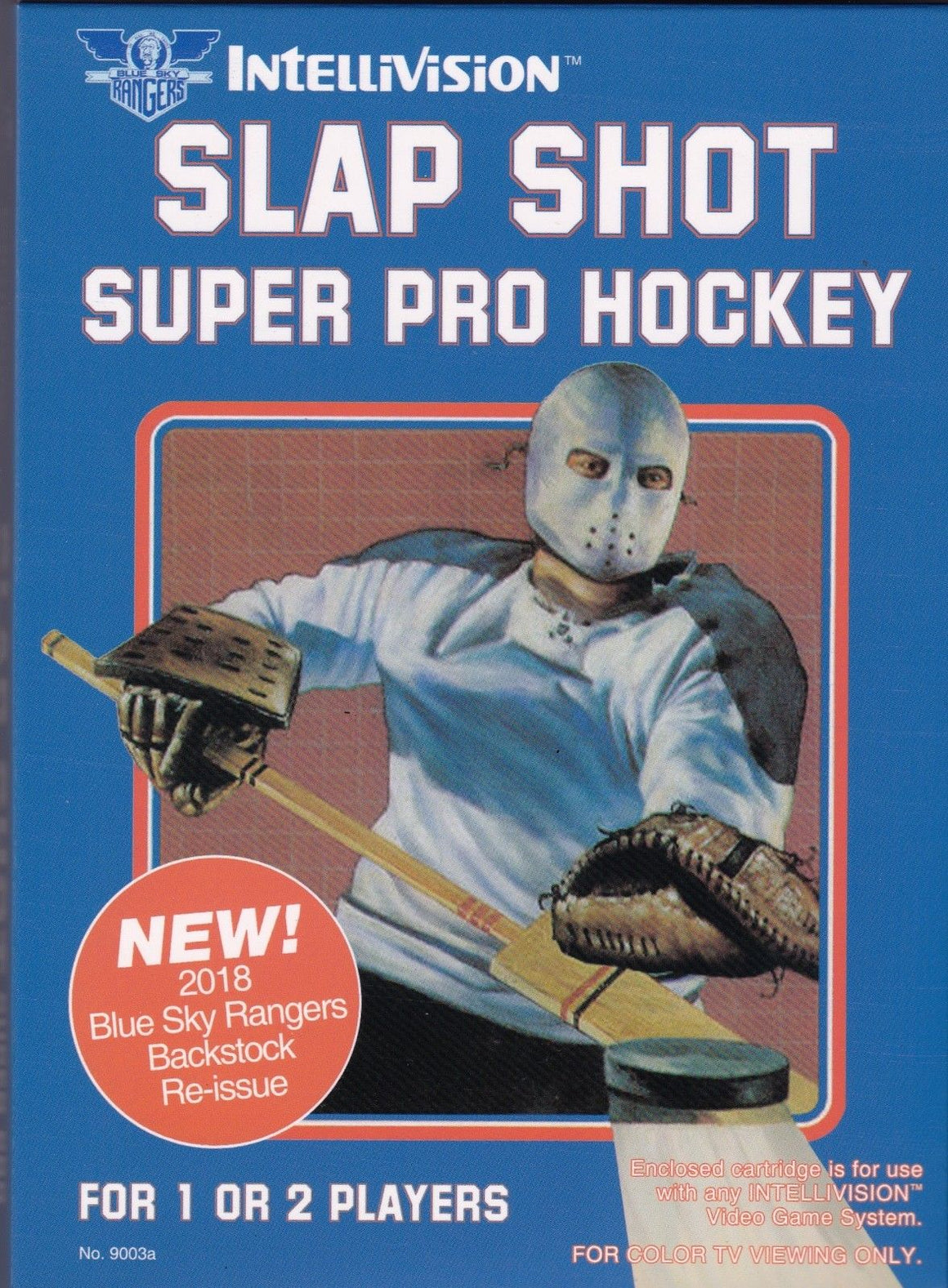Slap Shot Super Pro Hockey for Intellivision - Complete Game Cartridge + Overlays in New Box