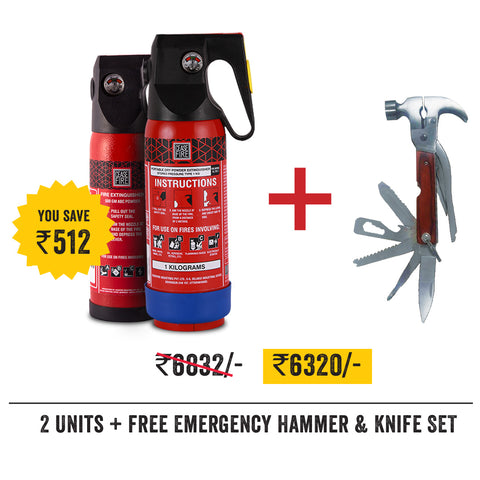 Home & Car Safety Value Offer Pack - 1 Unit of 500 Gms + 1 Unit of 1Kg Extinguisher