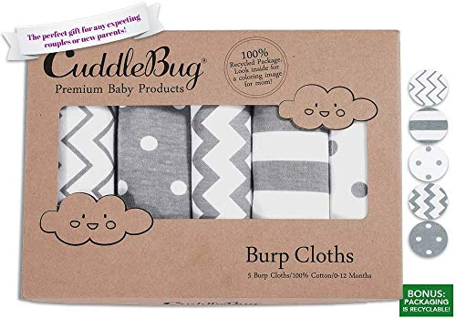 Grey and White Baby Burp Clothes - Pack of 5