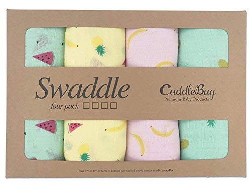 Tutti Frutti Muslin Cotton Swaddle - 4 Pack Nursery Set