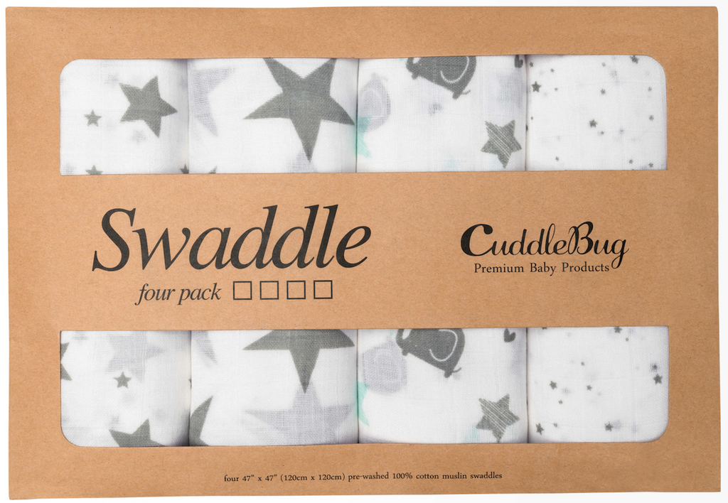 Starry Nights Muslin Cotton Swaddle - 4 Pack Nursery Set