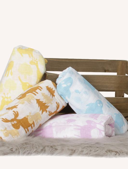 Colorful Critters Muslin Cotton Swaddle - 4 Pack Nursery Set
