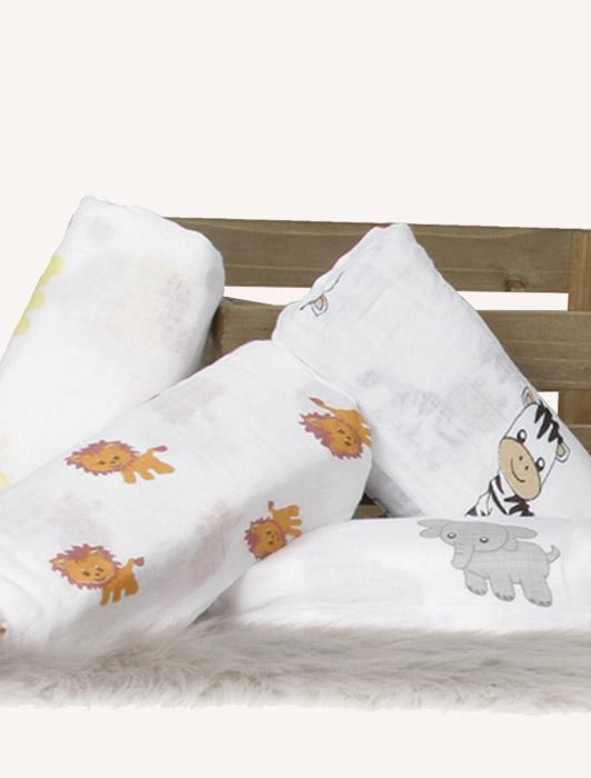 Muslin Baby Swaddle with Animal Figures- 4 Pack Nursery Set