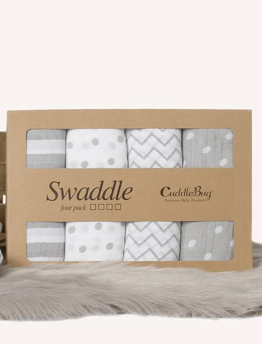 Muslin Baby Swaddle with Spots n' Stripes - 4 Pack Nursery Set