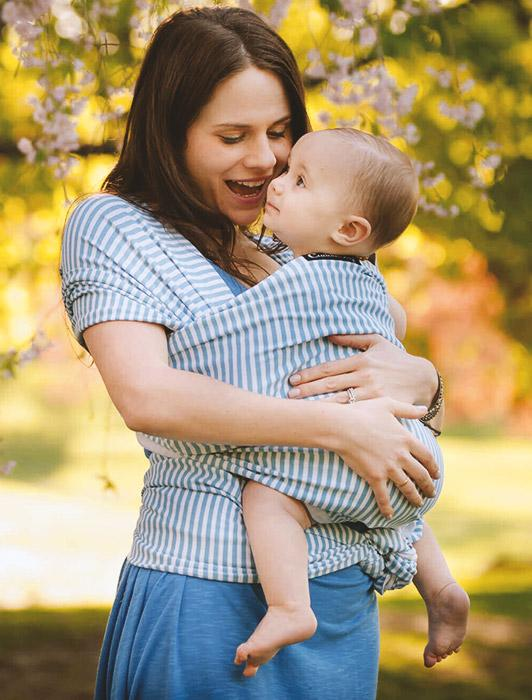 Blue Stripe Baby Wrap Carrier