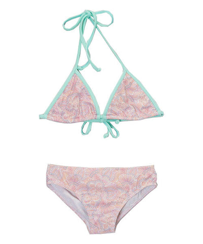 Girls Peach Paisley Triangle Bikini