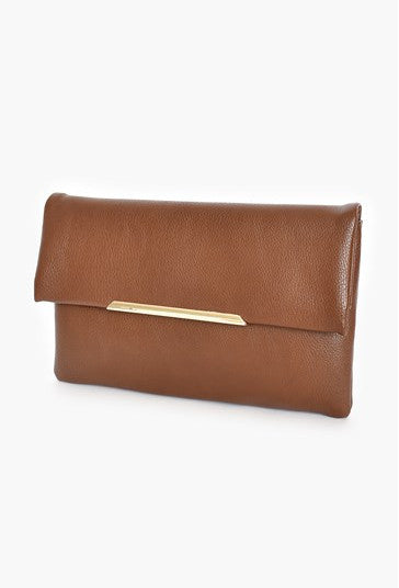 Flap Over Clutch Bag - Chocolate