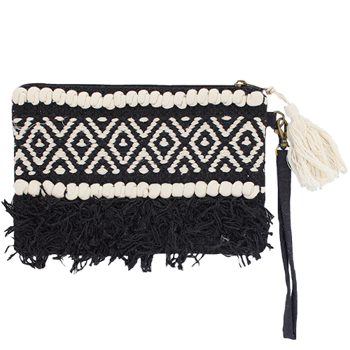 Boho Clutch Bag - Black with Cream