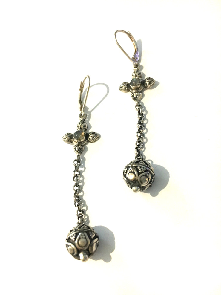 Airllywood - Airllywood, Silver Ball & Amethyst drop earrings, Earrings
