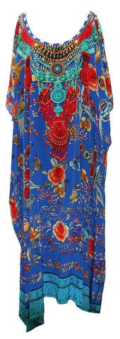 Airllywood - Airllywood, Blue Flower - Long Curvy...., Kaftan Dress