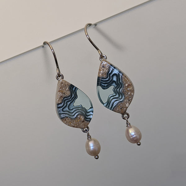 Airllywood - Airllywood, BoldB resin, Sand and Pearl Earrings - Aqua, Earrings
