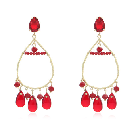 Airllywood - Airllywood, Gold and Red Tear Drop Earrings, Earrings