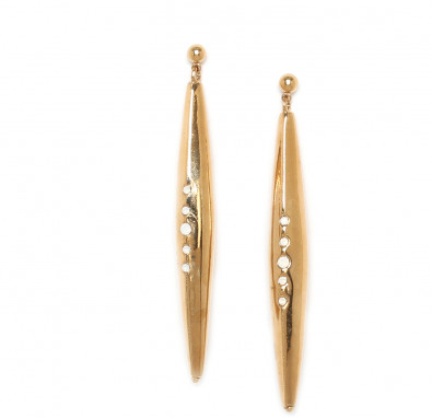 Airllywood - Airllywood, Clemence - Long Gold Post Earrings, Earrings
