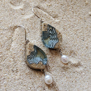 Airllywood - Airllywood, Resin, Sand and Pearl Earrings - Aqua, Earrings
