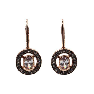 Airllywood - Airllywood, Fabienne Rose Gold and Crystal Stone Earring, Earrings