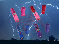 Mini Stun Gun 328 Purple - 15 Million Volts Lipstick Flashlight Rechargeable