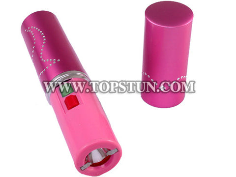 Mini Stun Gun 328 Pink - 15 Million Volts Lipstick Flashlight Rechargeable