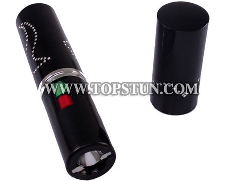 Mini Stun Gun 328 Black - 15 Million Volts Lipstick Flashlight Rechargeable
