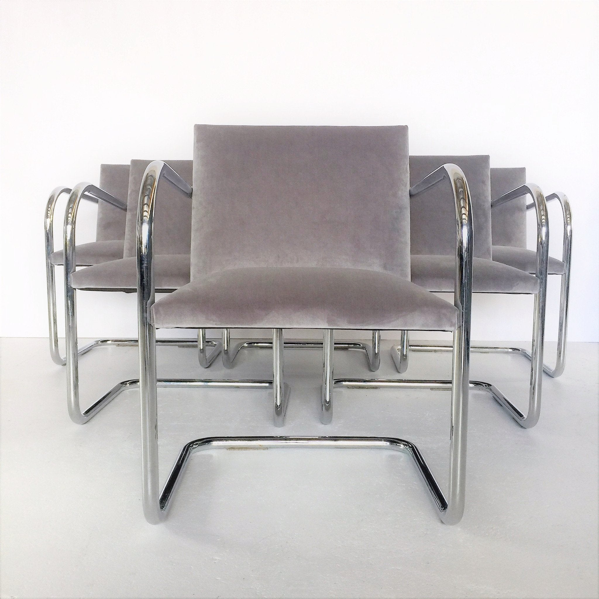 Set of Six Brno Chair Tubular by Mies Van Der Rohe Mid Century Swag