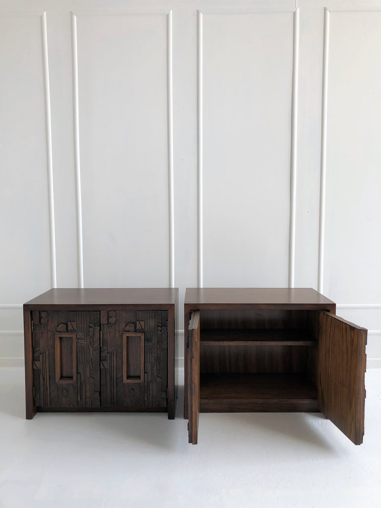 1960's Brutalist Lane Furniture Nightstands