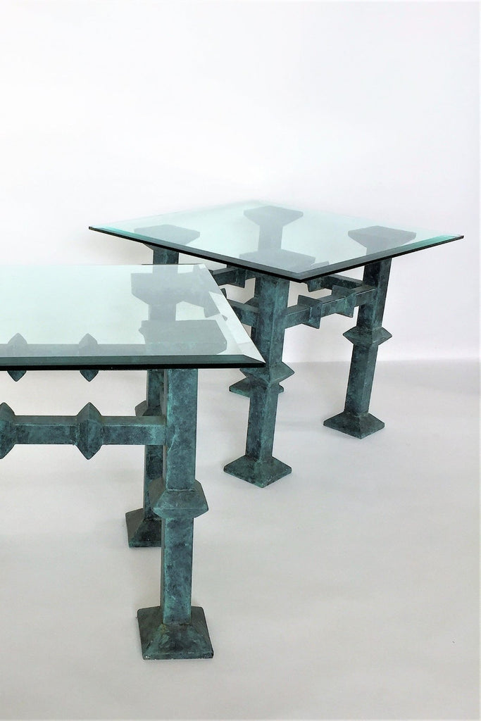 Verdigris Brutalist Side Tables
