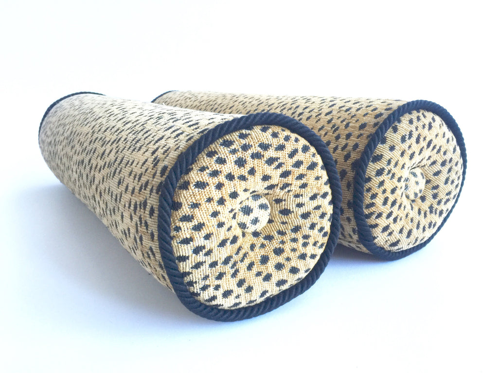 Vintage Leopard Bolster Cushions