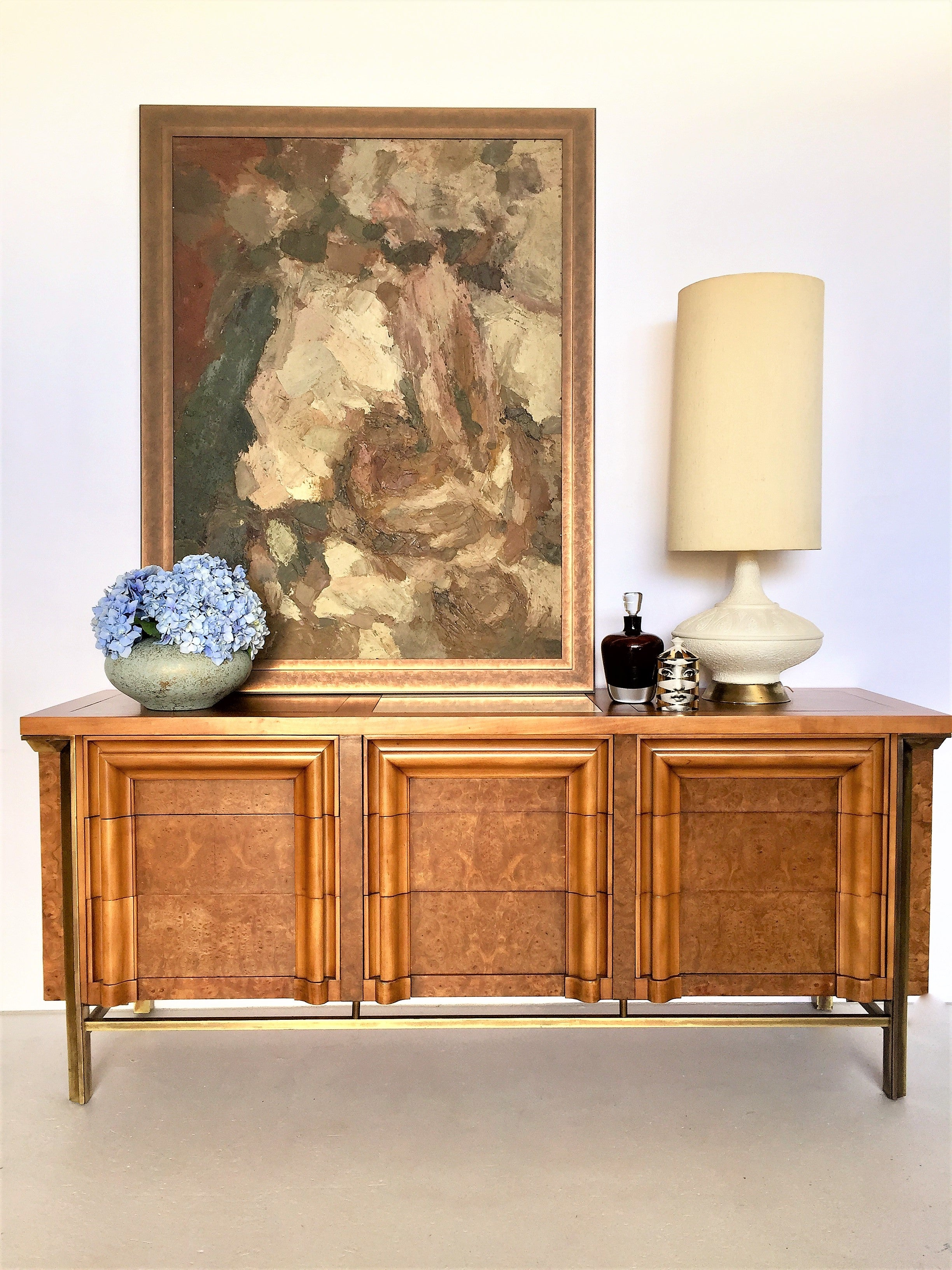 American Burled Cherrywood And Solid Brass Dresser By JL Metz Furniture