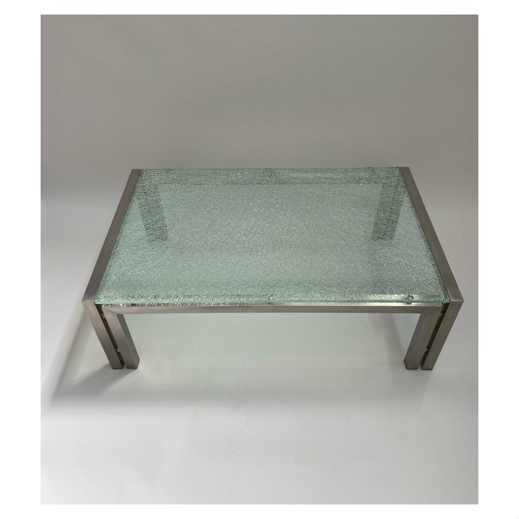 1980's Crackle Glass Coffee Table