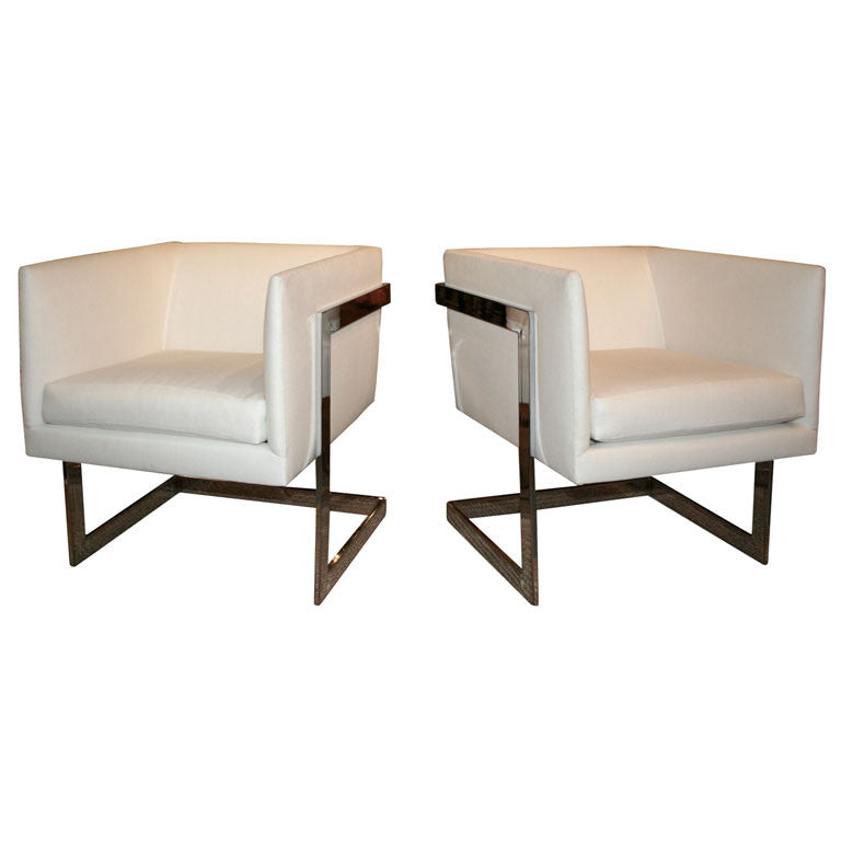 Milo Baughman Chrome Club Chairs