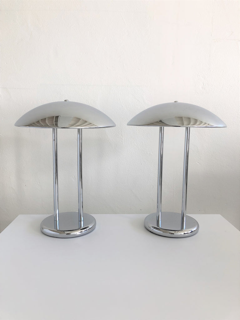 Pair of Space Age Chrome Lamps