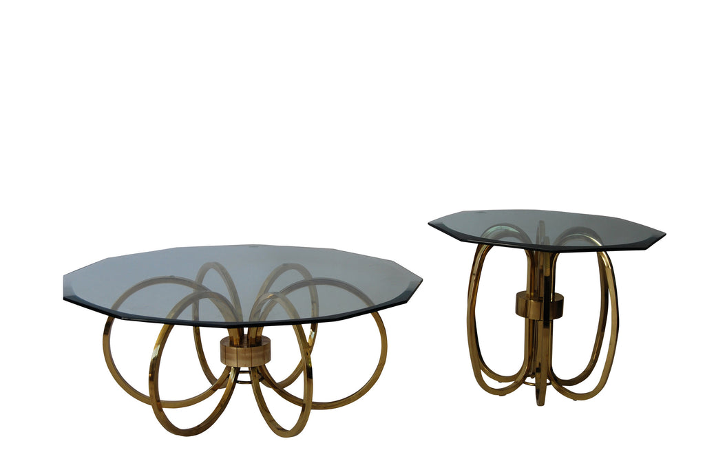 Vintage 1970's Glam Brass Coffee Table