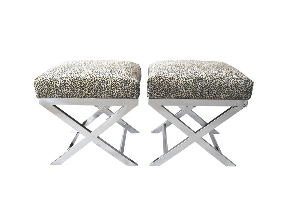 Italian Chrome X Base Footstools, 1975