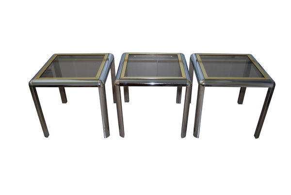 Chrome and Brass Nesting side Tables