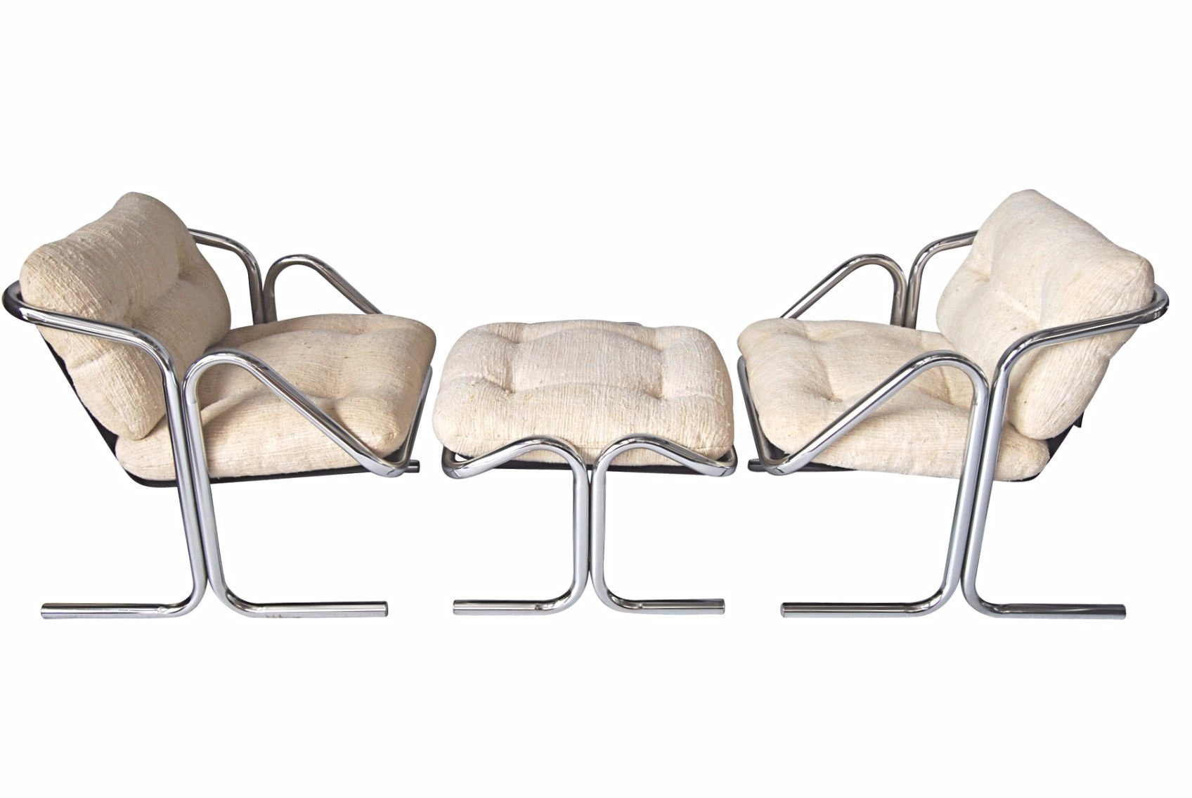 Pair of Jerry Johnson Arcadia Sling chairs with Ottoman Mid