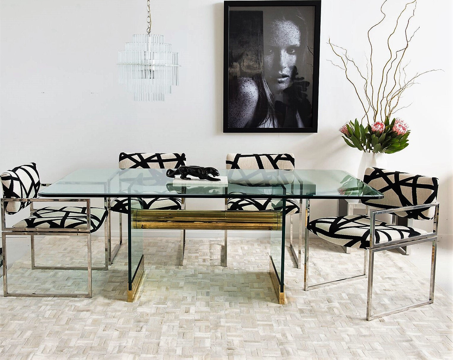 Leon Rosen For Pace Collection Glass Dining Table
